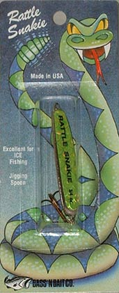 Rattle Snakie 3/4 oz. Jigging Spoon  - Fluorescent Chartreuse - shown approximately actual size